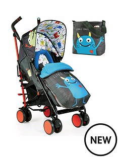cosatto-supa-2-stroller-change-bag-and-footmuff-bundle-monster-mob