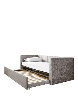 connie-crushed-velvet-day-bed-with-low-level-trundle-and-mattress-options-buy-and-save