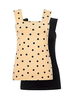 dorothy-perkins-2-pack-square-neck-vest-black