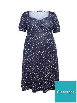 dorothy-perkins-curve-ruched-front-navy-spot-dress