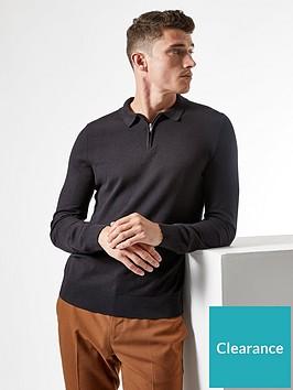 burton-menswear-london-fine-gauge-knitted-zipnbsppolo-jumper-blacknbsp