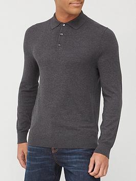 burton-menswear-london-fine-gauge-knitted-polo-top-charcoalnbsp