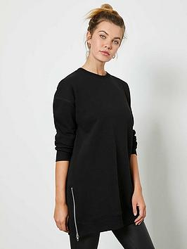 mint-velvet-longline-zip-sweat-top-black