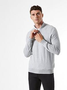 burton-menswear-london-half-zip-jumper-grey