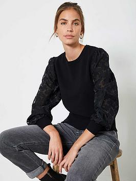 mint-velvet-burnt-out-woven-puff-sleeve-jumper-black