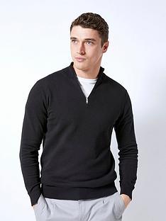 burton-menswear-london-half-zip-jumper-black