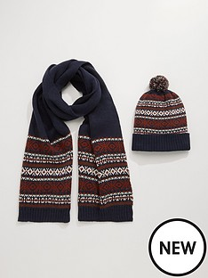 burton-menswear-london-fairisle-beanie-and-scarf-set-navy