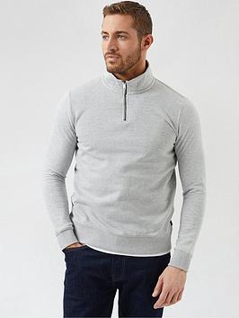 burton-menswear-london-14-zip-knitted-jumper-grey