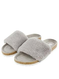 accessorize-luxe-faux-fur-slider-with-cork-base-grey