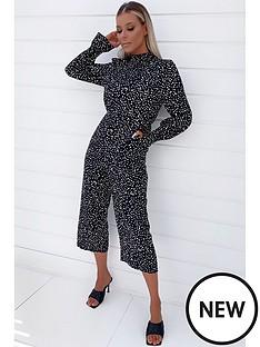 ax-paris-printed-high-neck-culotte-jumpsuit-black