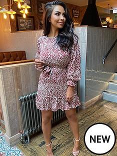 ax-paris-ax-paris-long-sleeve-printed-frill-hem-dress