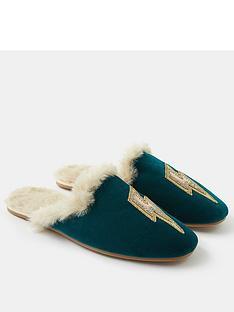 accessorize-embellished-lightning-bolt-mule-slippers-teal