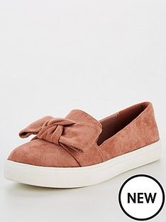 v-by-very-apple-bow-slip-on-trainers-mink