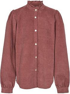 sofie-schnoor-girls-co-ord-high-neck-cord-shirt-dark-pink
