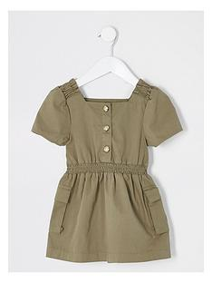 river-island-mini-mini-girls-utility-dress--nbspkhaki
