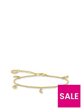 thomas-sabo-gold-plated-sterling-silver-star-and-moon-charm-bracelet