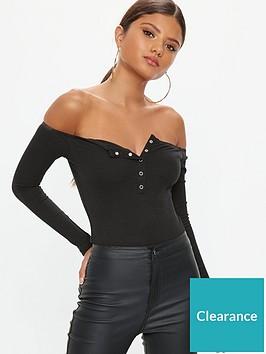 missguided-missguidednbspbutton-front-long-sleeve-rib-bodysuit-black