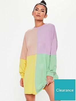 missguided-missguidednbspoversized-colour-block-sweater-dress-pink