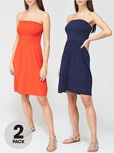 v-by-very-2-pack-shirred-mini-dress-redspot