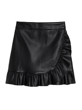 mango-girls-pu-skirt-black