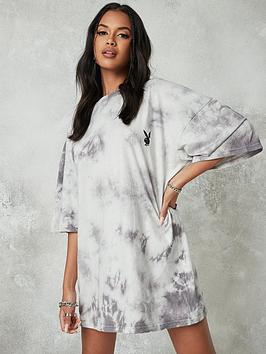 missguided-missguided-playboy-tie-dye-oversized-t-shirt-dress-charcoal