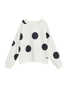 mango-girls-large-spot-sweatshirt-white