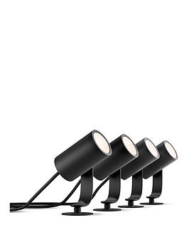 philips-hue-lily-white-amp-colour-ambiance-led-smart-4x-outdoor-spotlight-amp-40w-base-unit