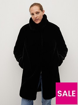 mango-faux-fur-long-coat-black