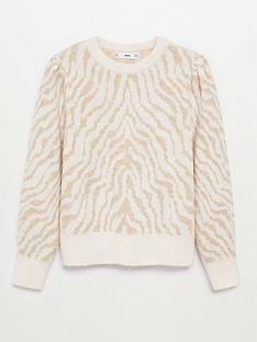 mango-zebra-jumper-beige