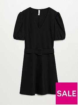 mango-belted-skater-dress-black