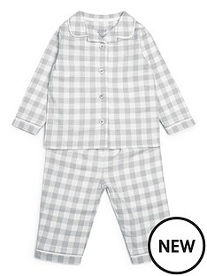 mamas-papas-unisex-baby-woven-check-pyjamas-grey
