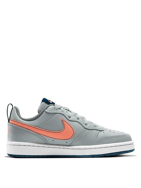 secuencia para agregar Cercanamente  Nike Court Borough Low 2 Junior Trainers - Grey/Pink | littlewoodsireland.ie