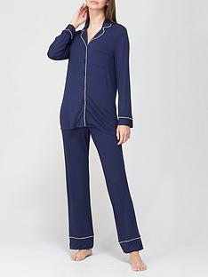 prod1090274803: Jersey Button Through Pyjamas - Navy