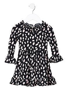 river-island-mini-girls-ruffle-neck-dress--nbspblack