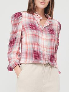 v-by-very-puff-shoulder-check-shirt--nbsppink-check