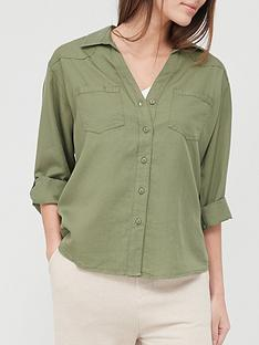 v-by-very-valuenbspsoft-touch-casual-shirt-khaki