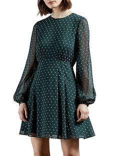 ted-baker-long-sleeve-heart-print-mini-dress-green