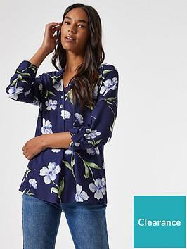dorothy-perkins-floral-2-button-roll-sleeve-shirtnbsp-nbspnavy