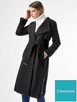 dorothy-perkins-glossynbspfunnel-collar-beltednbspcoat--nbspblacknbsp