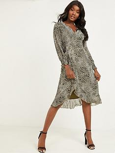 quiz-ditsy-print-georgette-shearing-long-sleeve-wrap-midi-dress-khaki