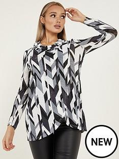quiz-quiz-black-grey-cream-light-knit-abstract-cowl-neck-long-sleeve-asymmetric-top