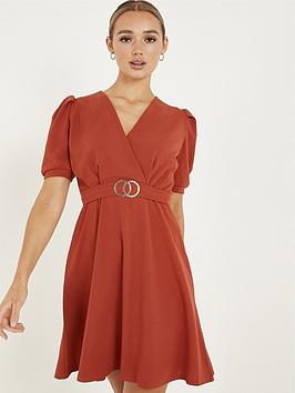 quiz-quiz-rust-scuba-crepe-buckle-skater-dress