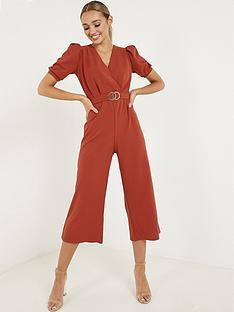 quiz-scuba-crepe-buckle-culotte-jumpsuit-rust