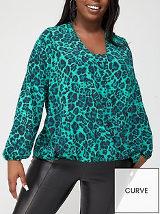 v-by-very-curve-cami-insert-wrap-blouse-green-animal