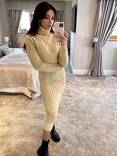 michelle-keegan-cable-knitted-turtle-neck-midi-dress-oatmeal