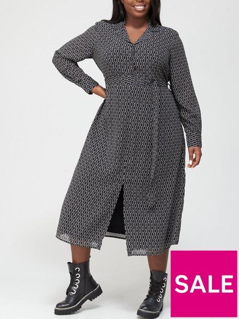 v-by-very-curve-woven-midi-shirt-dress-chain-print