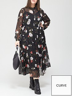 v-by-very-curve-tiered-woven-shirt-dress-floral-print