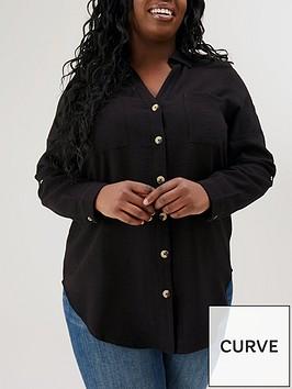 v-by-very-curve-roll-sleeve-longline-shirt-black