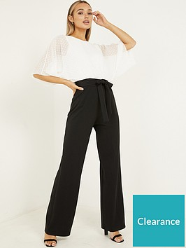 quiz-scuba-trousers-batwing-dobby-top-jumpsuit-cream-black