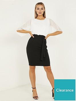 quiz-quiz-cream-black-scuba-body-con-batwing-dby-top-dress